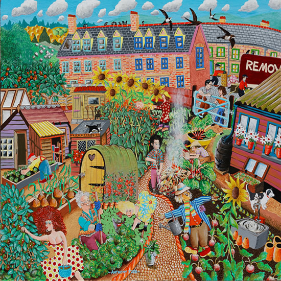 Allotments Painting by Surrey Artist Tony Todd - Cranleigh Society of Arts & Crafts
