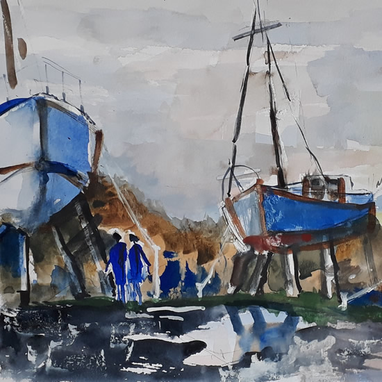 Derek Standen - boat painting - Cranleigh Society of Arts & Crafts