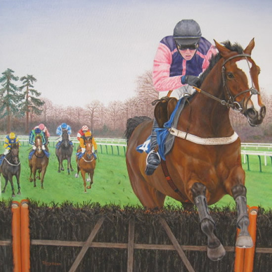 Horse Racing Painting - Last Hurdle by Tony Keen - Cranleigh Society of Arts & Crafts