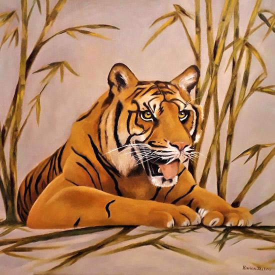 Tiger Painting - Artist Karina Jeetoo - Cranleigh Society of Arts & Crafts