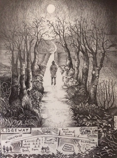 Farnham Art Society - Ridgeway between Wantage and Blewbury - Pen and Ink Artist Paul Morris
