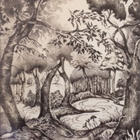 Normandy Guildford Artist Paul Morris – Pen & Ink Art Gallery – Pond in the Woods – Imaginary Location