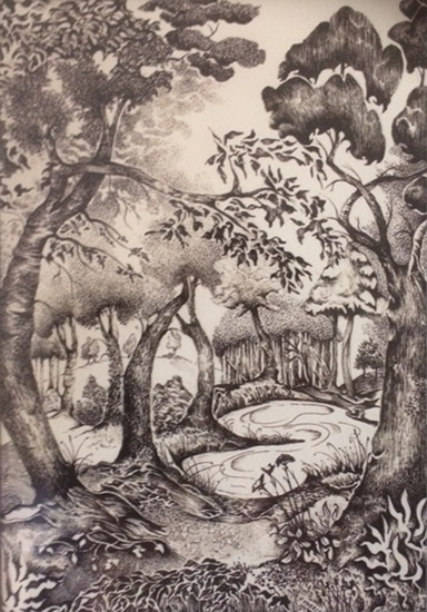 Normandy Guildford Artist Paul Morris - Pen & Ink Art Gallery - Pond in the Woods - Imaginary Location