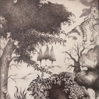Farnham Art Society – Route to the Castle – Imaginary Location – Pen and Ink Artist Paul Morris