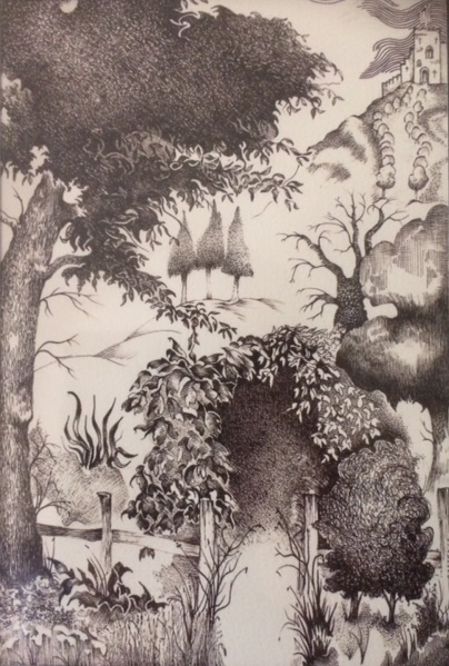 Farnham Art Society - Ridgeway between Wantage and Blewbury - Pen and Ink Artist Paul Morris