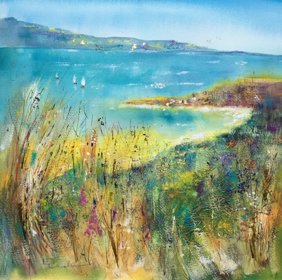 Cornwall Coast Grasses and Bay Painting - Woking Surrey Artist