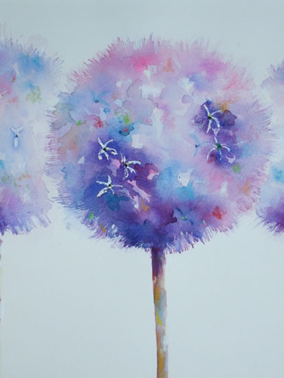 Alliums Painting - Flowers Art Gallery - Woking Surrey Artist Elisabeth Carolan