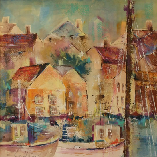 Cornish Harbour - Cornwall Art Gallery of Woking Surrey Artist Elisabeth Carolan