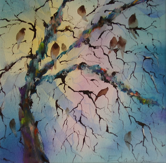 Birds Singing In Tree - Dawn Chorus Painting - Woking Art Gallery - Woking Surrey Artist Elisabeth Carolan