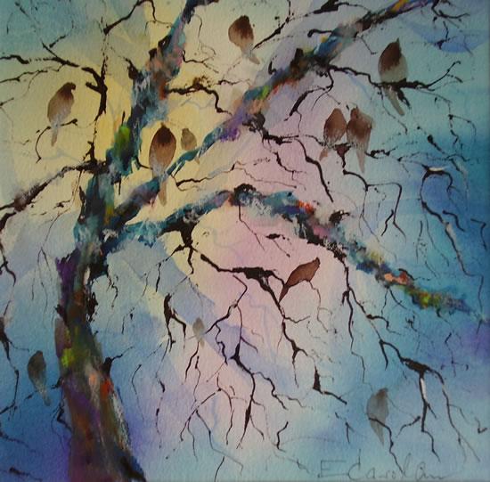 Birds Singing In Tree - Dawn Chorus Painting - Woking Art Gallery - Woking Surrey Artist Elisabeth Carolan