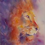 Lion Painting – King – Woking Surrey Artist Elisabeth Carolan
