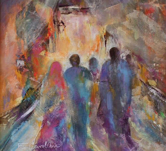 Souk - Painting of Arab Market - Art Gallery of Woking Surrey Artist Elisabeth Carolan
