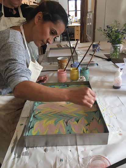 Water Lillies - Art of Marbling - Surrey Artist Ebru Koçak- Surrey Art School Workshops Newdigate Dorking