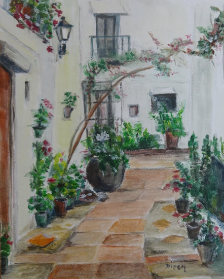 Bougainvillea Painting by Redhill Surrey Artist Dipen Boghani