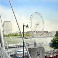 London Eye Painting – London Art Gallery – Artist John Healey – Byfleet Art Group