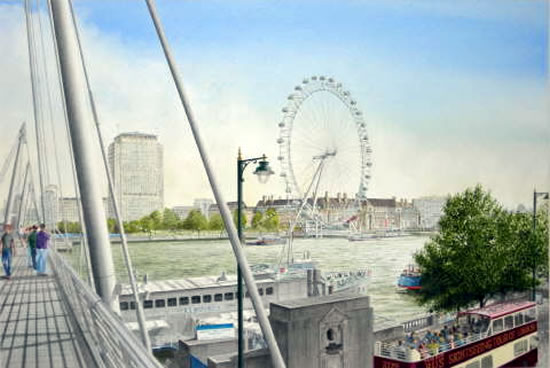 London Eye Painting - London Art Gallery - Artist John Healey  - Byfleet Art Group