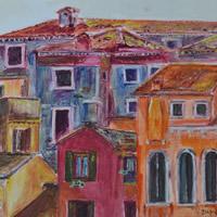 Mediterranean Vista Painting by Redhill Surrey Artist Dipen Boghani