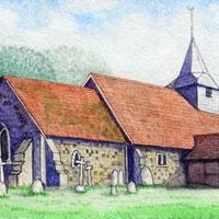 St Nicholas Church Pyrford – Surrey Art Gallery – Artist John Bunce – Guildford Art Society