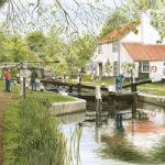 Thames Lock Weybridge – Surrey Art Gallery – Artist John Healey – Byfleet Art Group