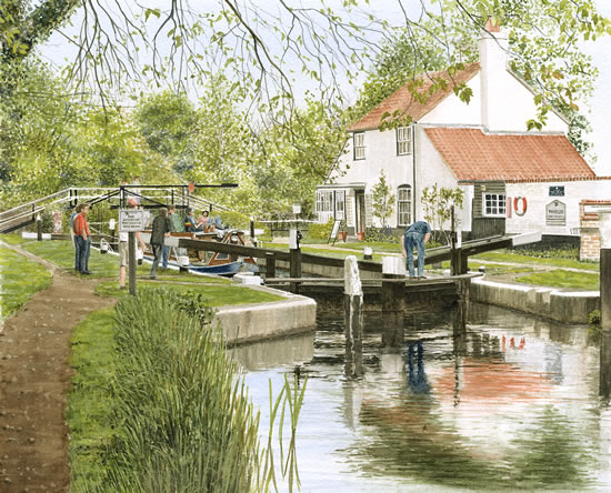 Thames Lock Weybridge - Surrey Art Gallery - Artist John Healey - Byfleet Art Group