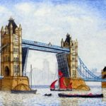Tower Bridge with Thames Barge – London Art Gallery – Surrey Artist John Bunce – Woking Society of Arts