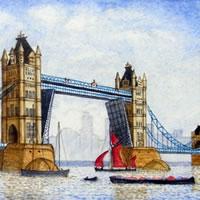 Tower Bridge with Thames Barge – London Art Gallery – Surrey Artist John Bunce – Woking Society of Arts