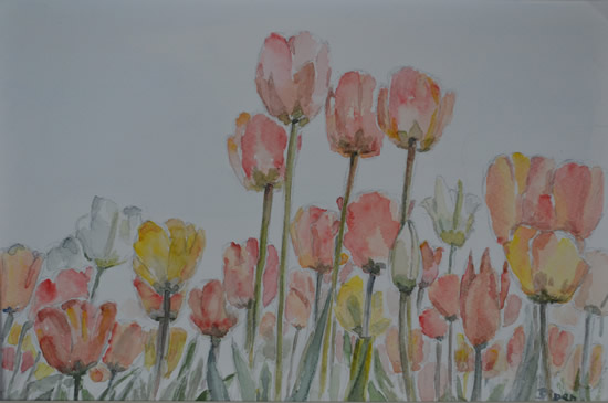 Tulips - Flowers Painting by Redhill Surrey Artist Dipen Boghani