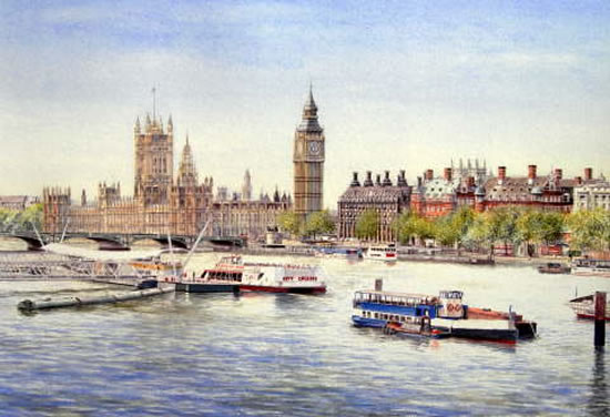 Westminster - Big Ben and Houses of Parliament - London Art Gallery - Artist John Healey - Woking Society of Arts