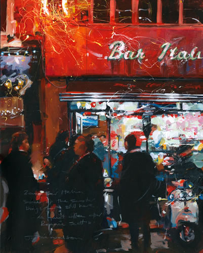 2am, Bar Italia Soho - John Walsom - Contemporary and Architectural Artist - Buildings and Interiors in Oils and Watercolours - Surrey Art Gallery