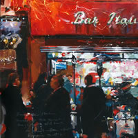2am, Bar Italia Soho – John Walsom – Contemporary and Architectural Artist – Buildings and Interiors in Oils and Watercolours – Surrey Art Gallery