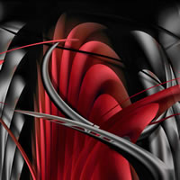 Abstract Digital Art – Botanic Underworld Red – Guildford Surrey Artist – Nicola Hawkes – Wibbles