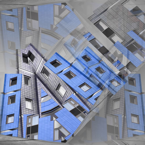 Abstract Digital Art - City Scape (Blue) - Guildford Surrey Artist - Nicola Hawkes - Wibbles