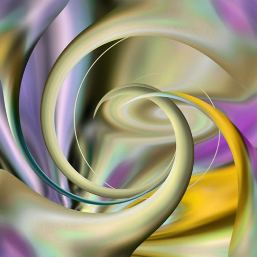 Abstract Digital Art - Twisted Green - Guildford Surrey Artist - Nicola Hawkes - Wibbles