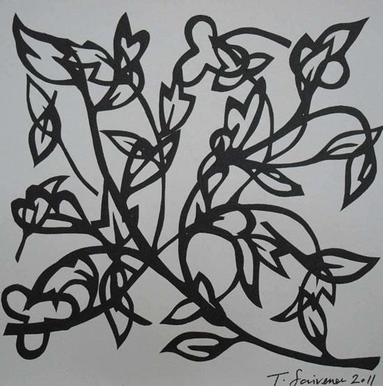 Abstract Floral - Surrey Art Gallery - Artist Tony Scrivener - Surrey Institute of Art & Design