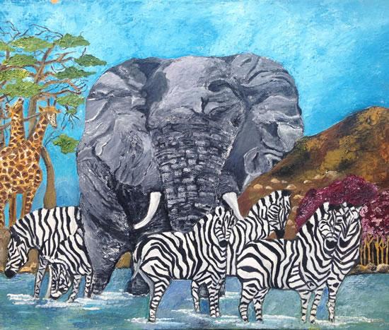 African Wildlife Sharing A Sundowner - South African Artist - Richard Dunn - Gallery - Artist In Oils
