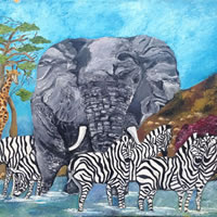 African Wildlife Sharing A Sundowner – South African Artist – Richard Dunn – Gallery – Artist In Oils