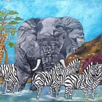 African Wildlife Sharing A Sundowner – South African Artist – Richard Dunn – Gallery – Artist In Oils