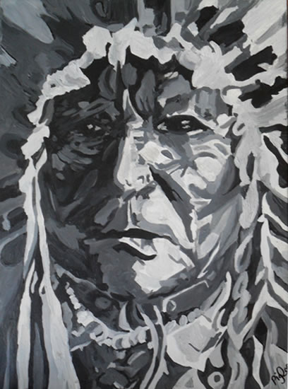 American Indian - Sitting Bear - Surrey Art Gallery - London Artist Elaine Pigeon