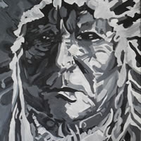 American Indian – Sitting Bear – Surrey Art Gallery – London Artist Elaine Pigeon