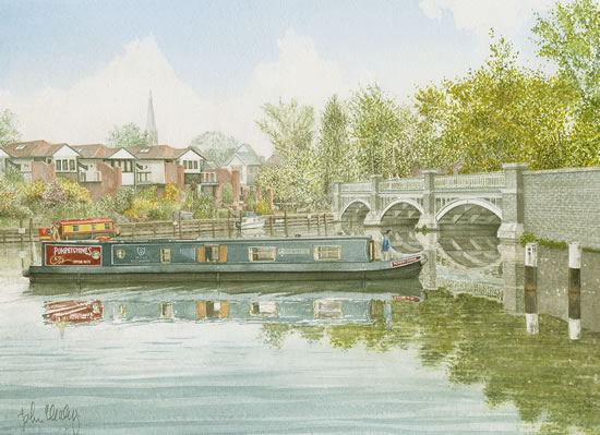 Barge on River Wey Weybridge - Art Gallery - Artist John Healey - Woking Society of Arts