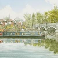 Barge on River Wey Weybridge – Art Gallery – Artist John Healey – Woking Society of Arts