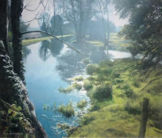 Beside The Wey, Near Woking - David Deamer - Artist in Oils and Pencil Portraits - Surrey Art Gallery - Pirbright Art Club - Woking Society of Arts