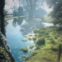 Beside The Wey, Near Woking – David Deamer – Artist in Oils and Pencil Portraits – Surrey Art Gallery – Pirbright Art Club – Woking Society of Arts