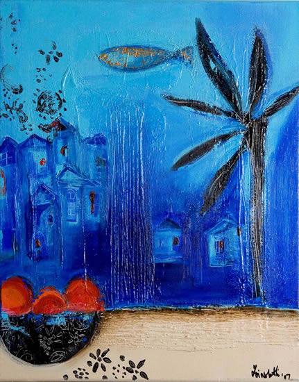 Blue 1 - Zainab Ali - Mixed Media Paintings and Textile Artist - Surrey Art Gallery