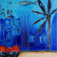 Blue 1 – Zainab Ali – Mixed Media Paintings and Textile Artist – Surrey Art Gallery