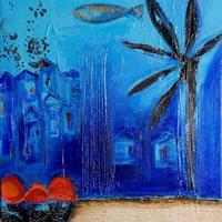 Blue 1 – Zainab Ali – Mixed Media Paintings and Textile Artist – Surrey Art Gallery