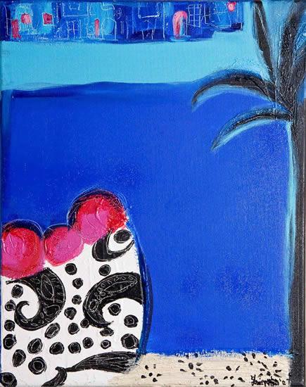 Blue 2 - Zainab Ali - Mixed Media Paintings and Textile Artist - Surrey Art Gallery