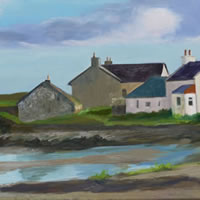 Buildings at Uyeasound, Shetland Islands – Rose Seber – Rock Climbing and Mountain Art and Stone Lithography – Surrey Art Gallery