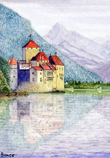 Chateau de Chillon, Montreux, Switzerland - Europe Art Gallery - Artist John Bunce - Guildford Art Society