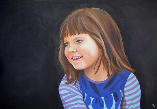 Child Portrait - Ashley - Kerry Regan - Artist Painting in Acrylic and Other Media - Surrey Art Gallery